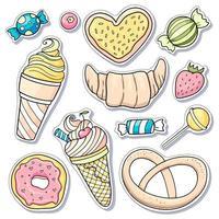 set di adesivi di dolci vettore