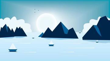 notte al chiaro di luna dcene con montagna e lago vettore