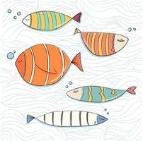 set di pesci doodle nelle onde del mare vettore