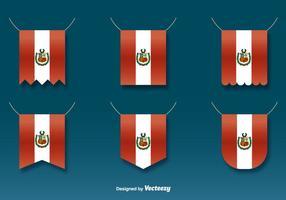 Vettore appeso bandiere del Perù Set