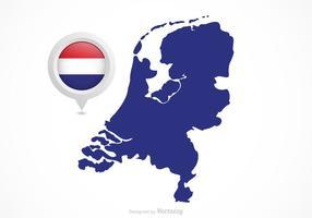 Vector Puntatore della mappa bandiera olandese