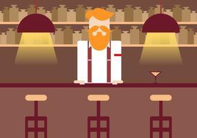Vettore d'annata dell'illustrazione del barista