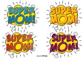 Super mamma illustrazioni di testo comico vettore