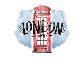 Vettore gratuito dell'acquerello di Londra del telefono della cabina