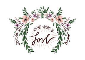 Amore fiori acquerello vettoriale