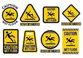 Vettore libero delle icone del pavimento bagnato