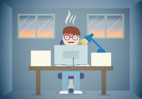 Burnout Work Office Vector piatto