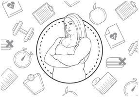 Icona di fitness gratuito con illustrazione di donna vettore