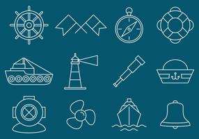 Icone nautiche e di navigazione vettore