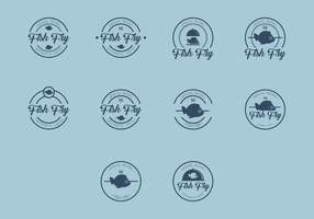 Icona di pesce Fry Logo vettore