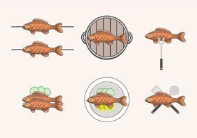 Vettori di pesce fritto deliziosi