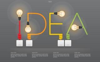 idea lineare concetto astratto con lampadina vettore