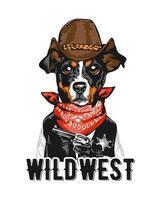 slogan con cane sceriffo da cowboy vettore