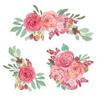 collezione di composizioni floreali rosa in pittura ad acquerello vettore