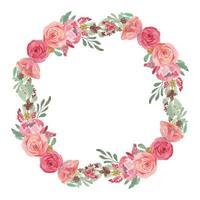 decorazione della corona del fiore della rosa di rosa dell'acquerello