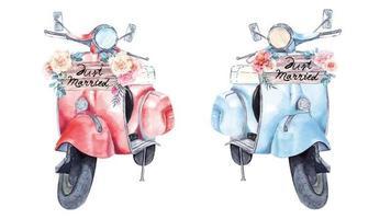 pittura di scooter per matrimonio con acquerello vettore