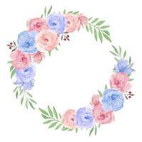 corona di fiori ad acquerello per la decorazione vettore