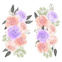 composizione floreale rosa acquerello dipinto a mano vettore