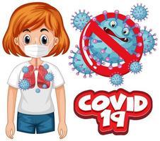 cartellonistica di coronavirus con parola covid 19 e polmoni cattivi