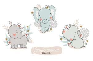elefantino, rinoceronte, insieme floreale dell'ippopotamo