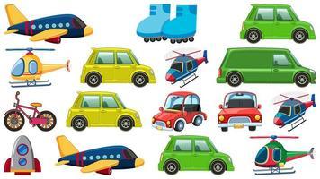 set di molti tipi di trasporto su sfondo bianco