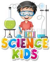 disegno del carattere per bambini di scienza di parola con ragazzo nel laboratorio di scienze