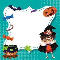 design del modello di cornice con ragazzo in costume di halloween