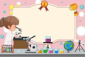modello di certificato con ragazza in abito da laboratorio guardando attraverso il microscopio vettore