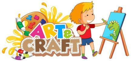 disegno del carattere per la parola arte e artigianato con ragazzo disegno su tela vettore
