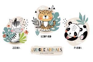 collezione di animali bambino giungla vettore