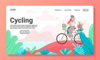 modello di landing page del ciclismo vettore