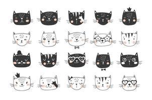 collezione di doodle di facce di gatto carino per adesivi vettore