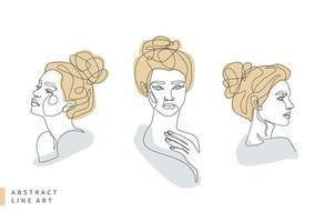 insieme di arte di linea del viso della donna minimal astratta