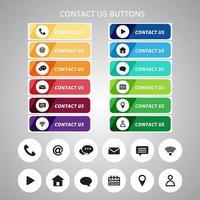 Contattaci pulsante e set di icone vettore