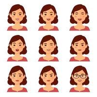set di espressioni facciali avatar donna vettore