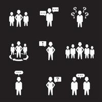 set di 9 icone semplici di persone e gruppi