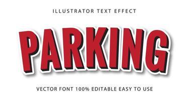 parcheggio rosso, effetto testo contorno bianco vettore