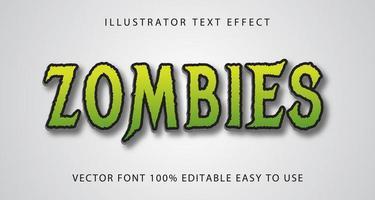 effetto di testo verde zombi vettore