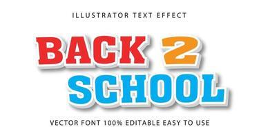 effetto di testo rosso, giallo, blu '' back 2 school '' vettore