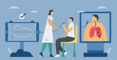 test spirometrico per misurare la funzionalità polmonare sul paziente
