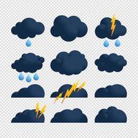 insieme blu dell'icona della nuvola e del bullone di tempesta