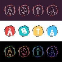 set di icone religiose colorate semplici vettore