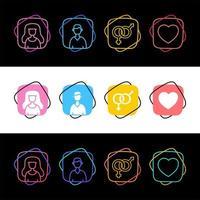 set colorato di icone uomo, donna e amore