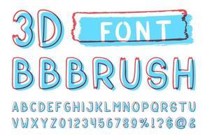 pennello contorno blu e rosso senza caratteri serif vettore