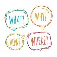 bolle di discorso doodle con perché, cosa, come, dove vettore