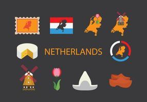 Set di icone Mappa Paesi Bassi vettore