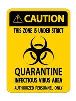 attenzione mettere in quarantena il segno dell'area infettiva del virus