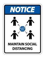 mantenere un avviso di distanza sociale vettore