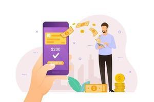 mano che tiene il telefono che riceve il trasferimento di denaro online vettore