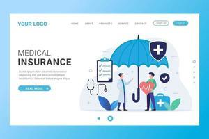 pagina di destinazione dell'assicurazione medica con persone sotto l'ombrello vettore